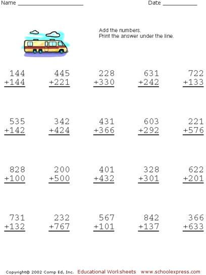 Free Addition Worksheets, 3 Digits No Carrying | escuela | Pinterest ...