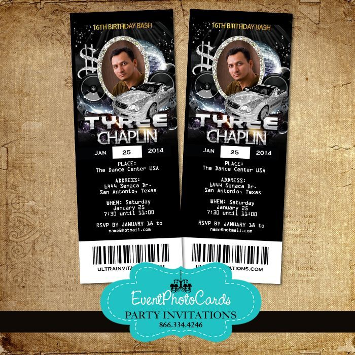 Baller Vip Ticket Invitations | Club Baller THeme invitations ...