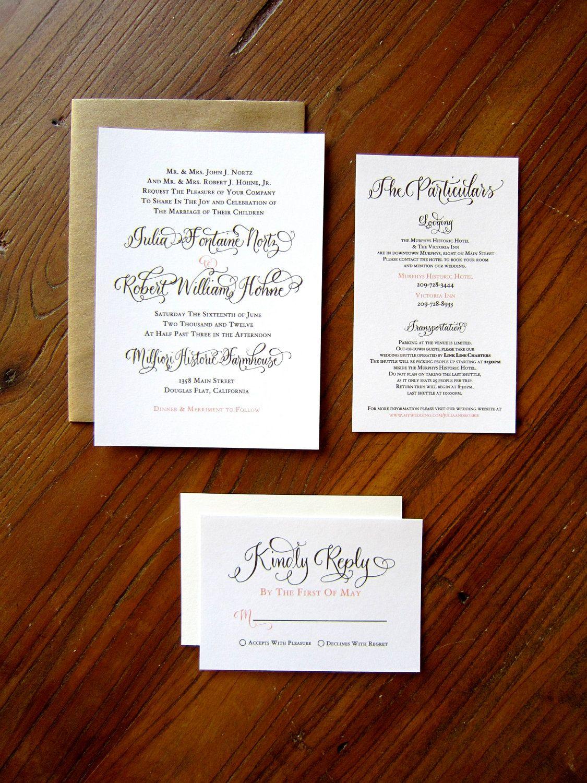 Custom Calligraphy Letterpress Wedding Invitation - or Digital ...