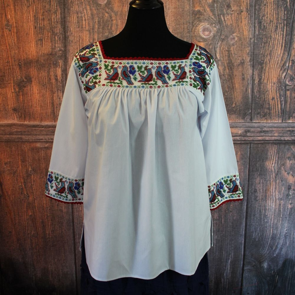 blouse Mexican blouse top,Oaxaca,green,Indian,Hupil large,BoHo Embroidered blouse Puebla blouse