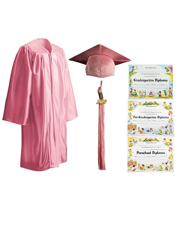 Shiny pink cap, gown, tassel, and diploma package for the little ...
