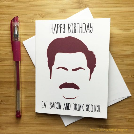 Ron Swanson Birthday Card Parks and Rec Gift Parks and