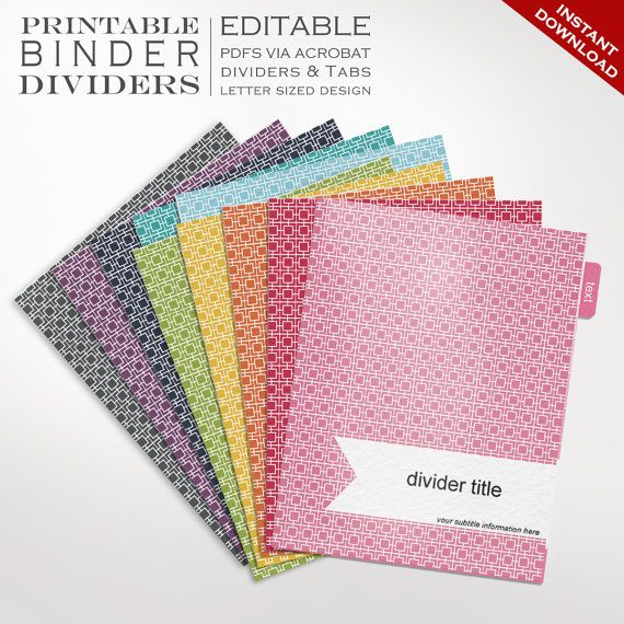Binder Dividers Printable Binder Dividers Editable Rainbow Mod - Binder tabs template
