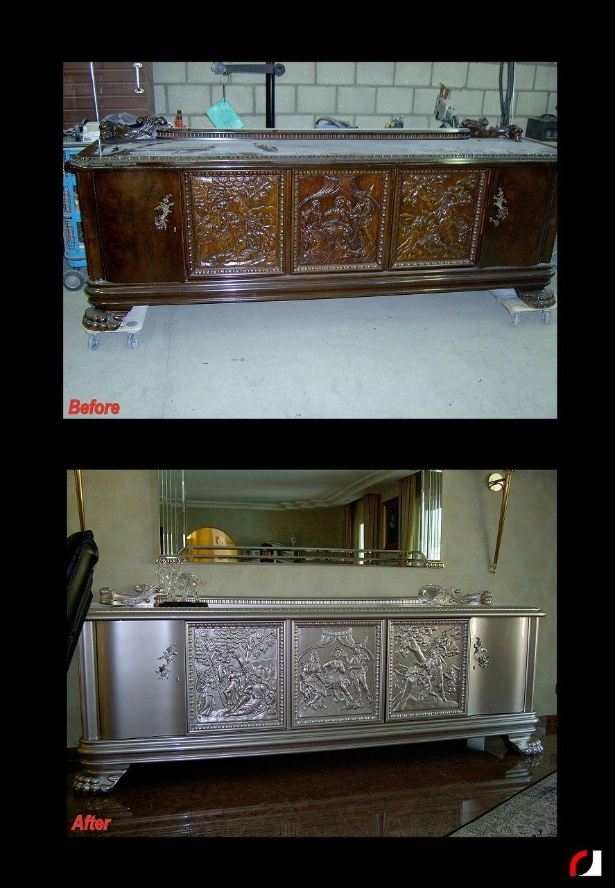 Moderne Houten Dressoir.Houten Dressoir Zilver Gespoten Kast Kasten Renoveren Restylen