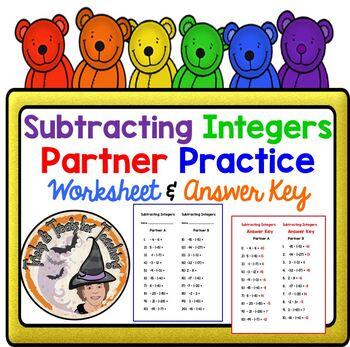 Subtracting Integers Partner Practice Worksheet with
