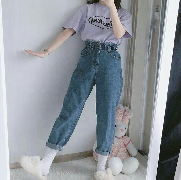 purple print top t shirt blue grey mom jeans jeans korean k
