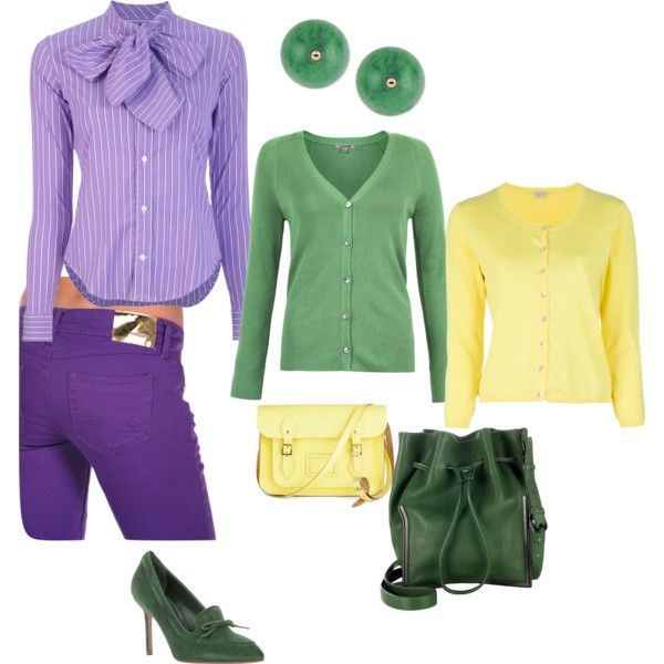 """Light Spring violet-green-yellow"" by adriana-cizikova on Polyvore"