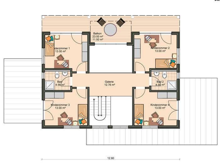 ᐅ Bauhaus 215 (mit Bildern) Grundriss, Haus, Kinderzimmer