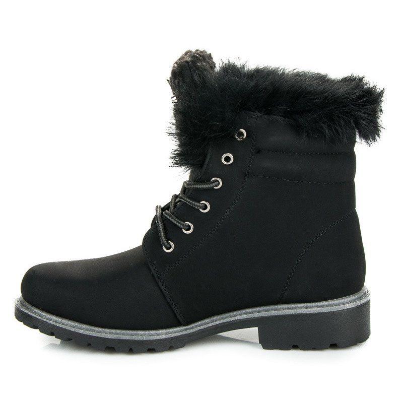 Botki Damskie Butymodne Sznurowane Traperki Z Futerkiem Czarne Timberland Boots Shoes Winter Boot
