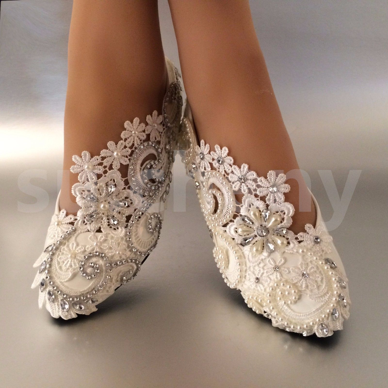 White Ivory Pearls Lace Crystal Wedding Shoes Flat Ballet Bridal