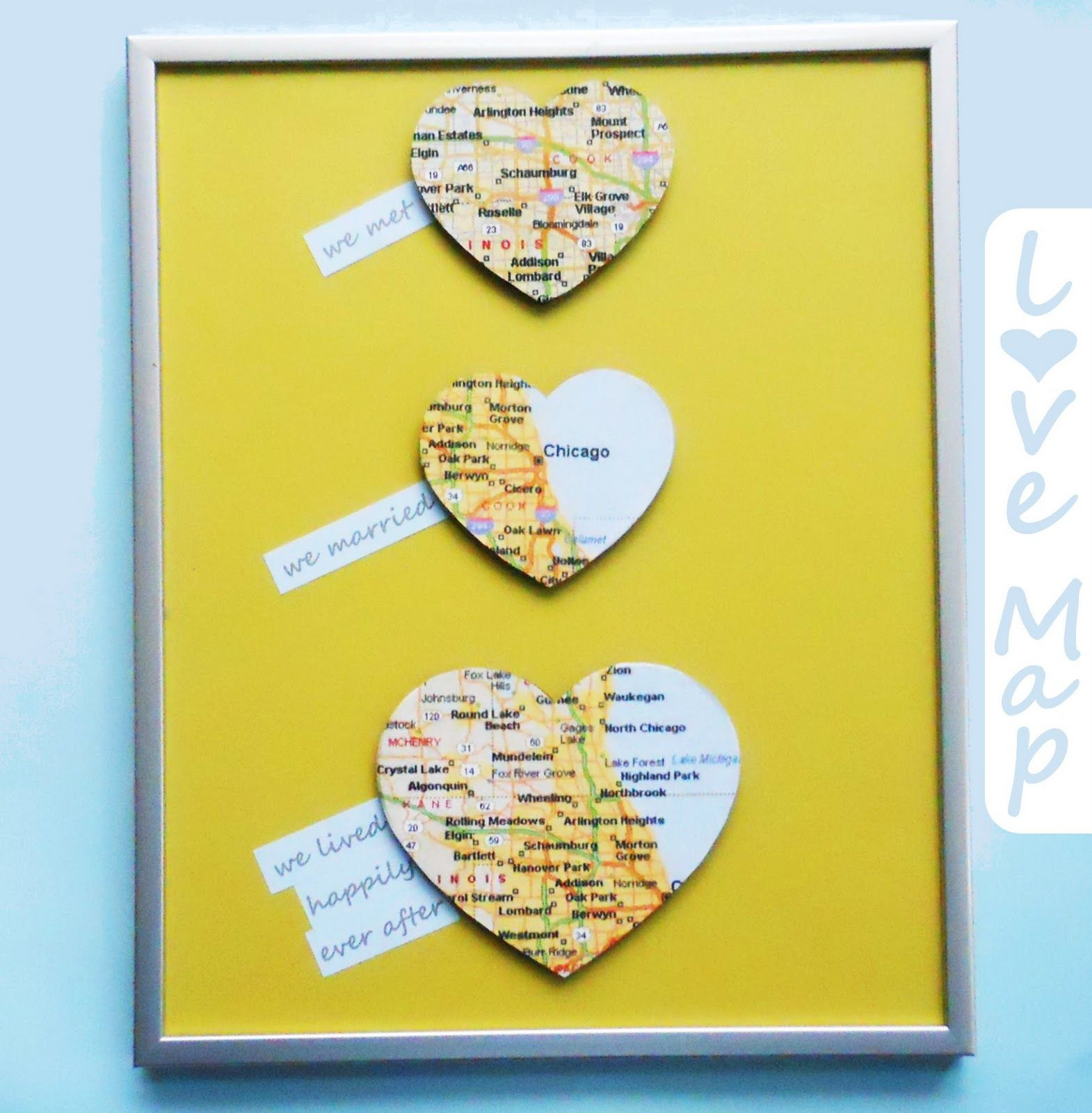 Love map wall art diy wedding gift budgeting a do it yourself blog full of budget friendly decorating and craft ideas side by solutioingenieria Image collections