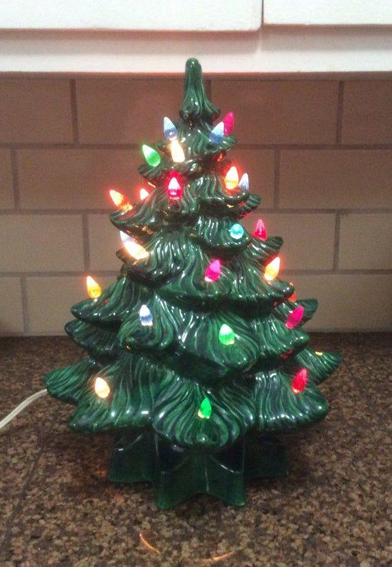 Vintage 1970s Ceramic Lighted Christmas Tree, Green Molded Ceramic Christmas Tree w Lig ...