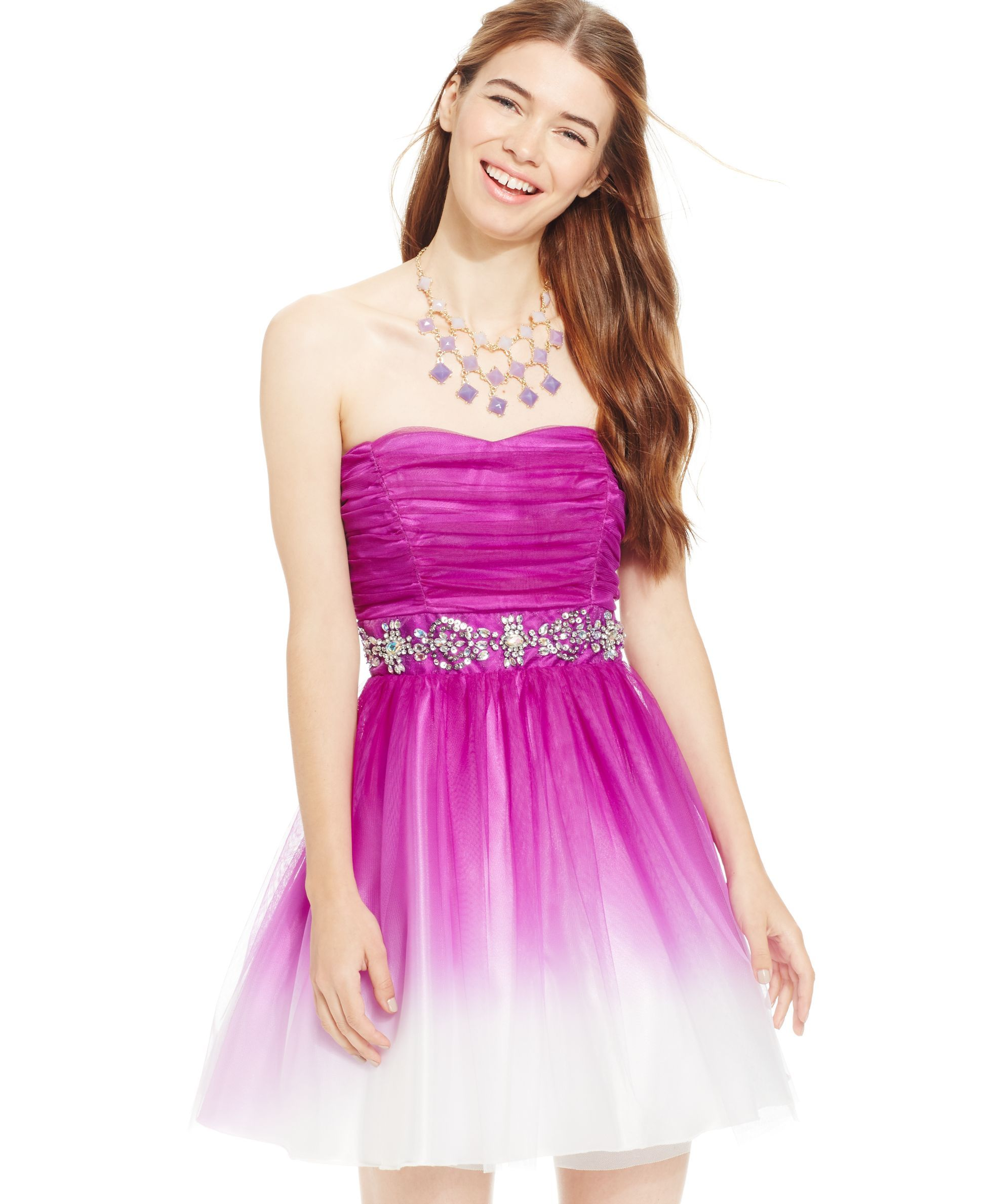 B Darlin Juniors Dress, Strapless Ombre A-Line - Juniors Prom ...