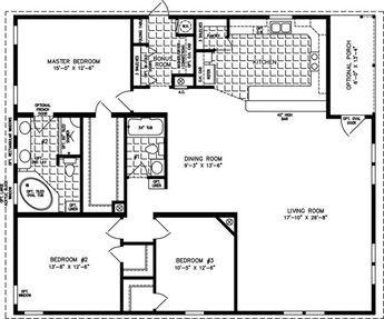 Manufactured Home Floor Plan: The T N R • Model TNR-7483 3 Bedrooms ...
