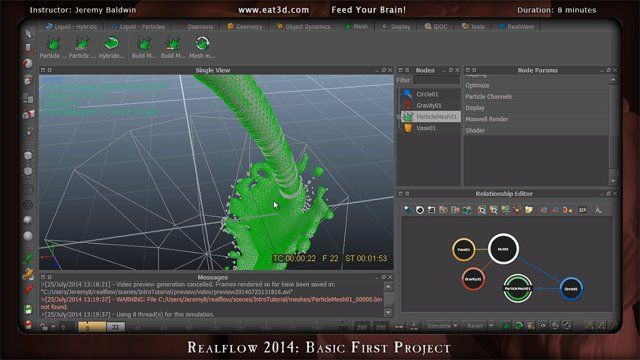 In this demonstration, Jeremy Baldwin shows how to create a basic first project in RealFlow 2014. About Eat 3D: Eat 3D has been feeding your brain for 6 years with some of the highest quality training that exists. Our goal is to provide you with the best education and get straight to the point with practical real world exercises that professionals actively use in production.