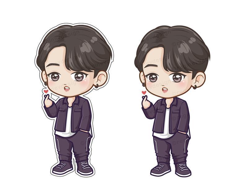 Bts Jungkook Chibi Kawaii Cartoon Clipart K Pop Jeon Etsy
