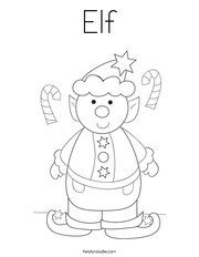 Blackline coloring pages for coloring by sight word Elf ...