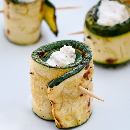Lots of great finger food ideas including these grilled zucchini filled with cheese! .... This lil wrap looks tasty .. Need to decarb some of the rest