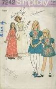An original ca. 1975 Simplicity Pattern 7242.  Child's and Girls' Dress in Two Lengths and Apron: The dress with skirt gathered to bodice at waistline has high round neckline, princess seamed front bodice, back zipper and set-in sleeves gathered to armholes. Short dress v.1 with contrasting front bodice has embroidered eyelet edging trim and short sleeves gathered with elastic casing, forming self ruffles...