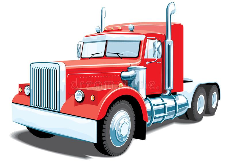 Semi Truck Vector Red Semi Truck On White Background Without