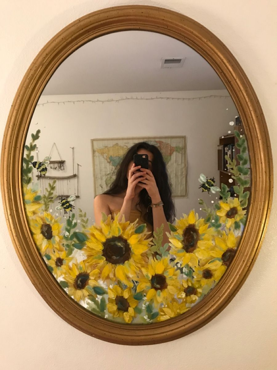Sunflower Mirror Painting T H A V Y In 2020 Mirror Painting Painted Mirror Art Aesthetic Painting