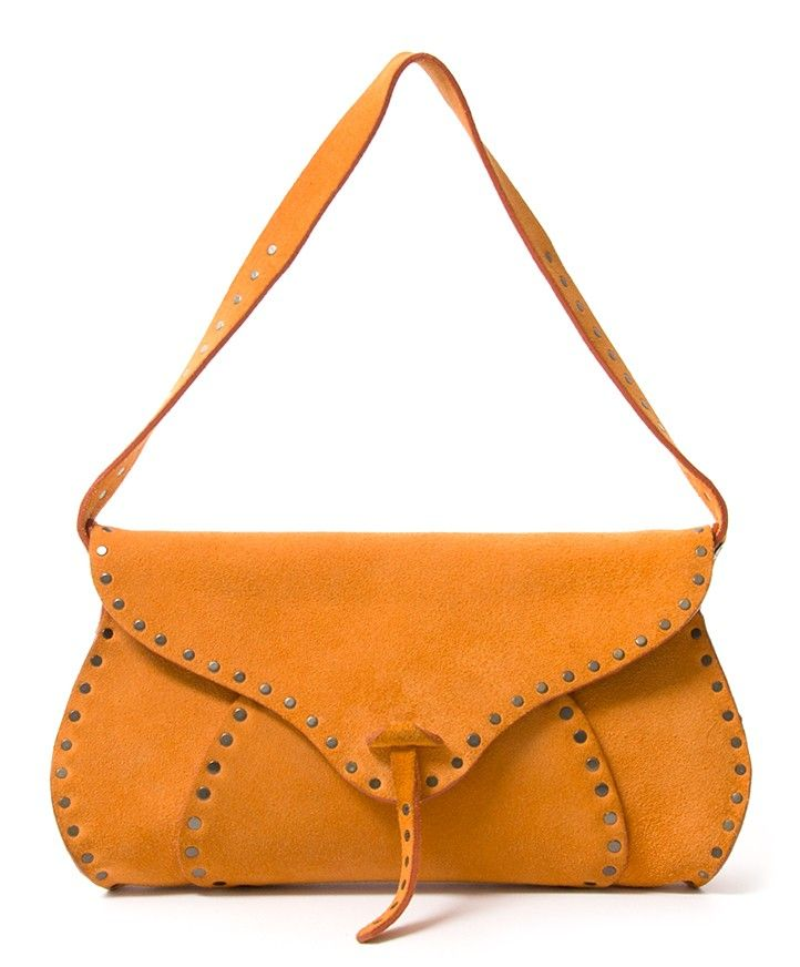 Céline Ochre Suede Studded Saddle Bag Authentic Secondhand Safe Online Ping Fashion Labellov Antwerp Web Belgium Designer Labels It Bags Brands