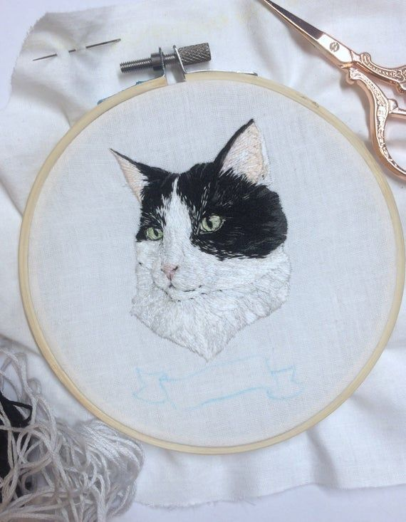5 inch custom embroidery pet portrait- dog or cat portrait art- embroidery art- needle painting - pe - Products -   #Art #Cat #Custom #Dog #Embroidery #inch #Needle #Painting #Pet #Portrait #Products