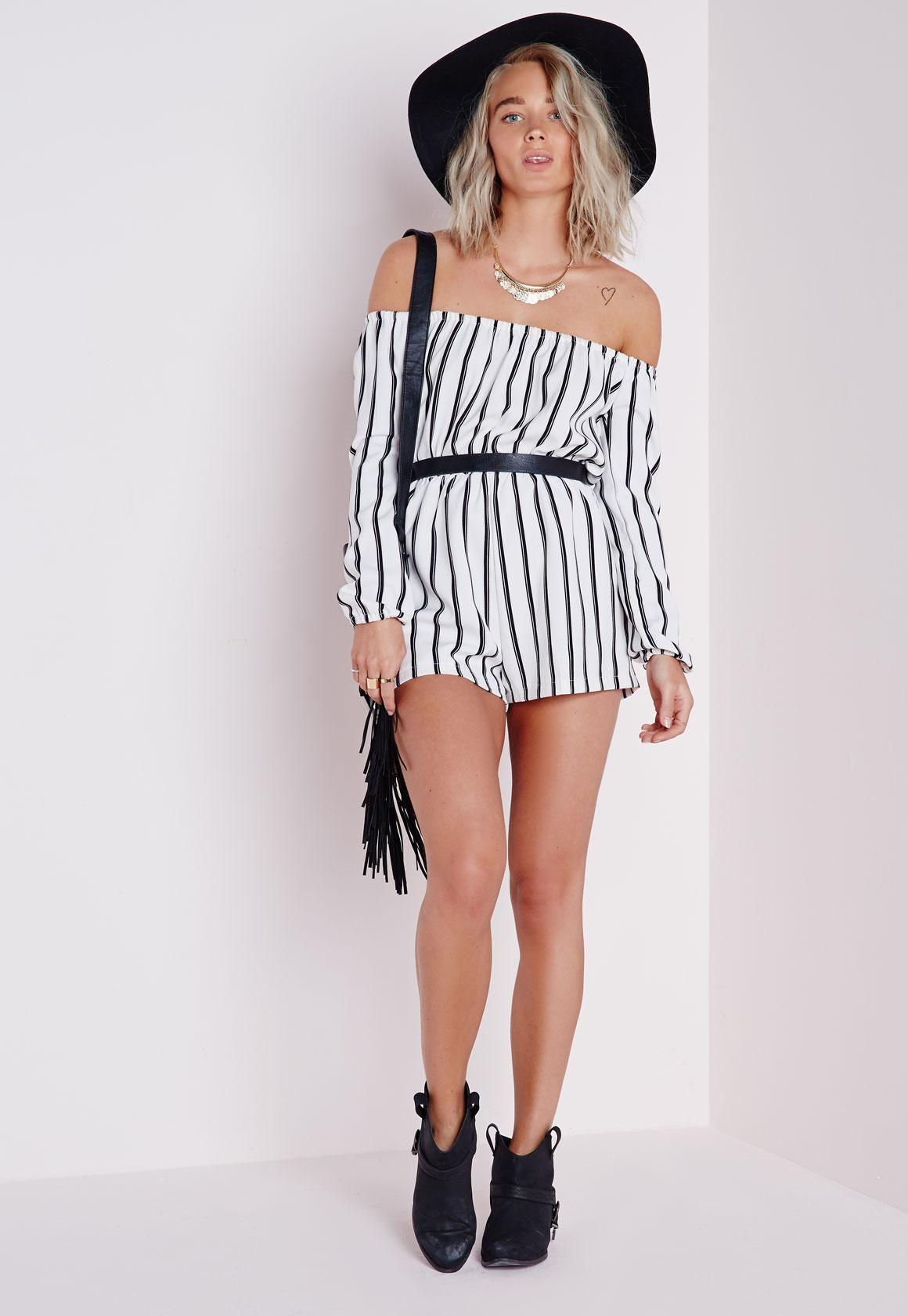 3b569da7513d Missguided - Petite Striped Bardot Playsuit White