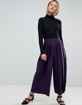 Falda pantalón con pliegue grande en la parte delantera de ASOS Tailored