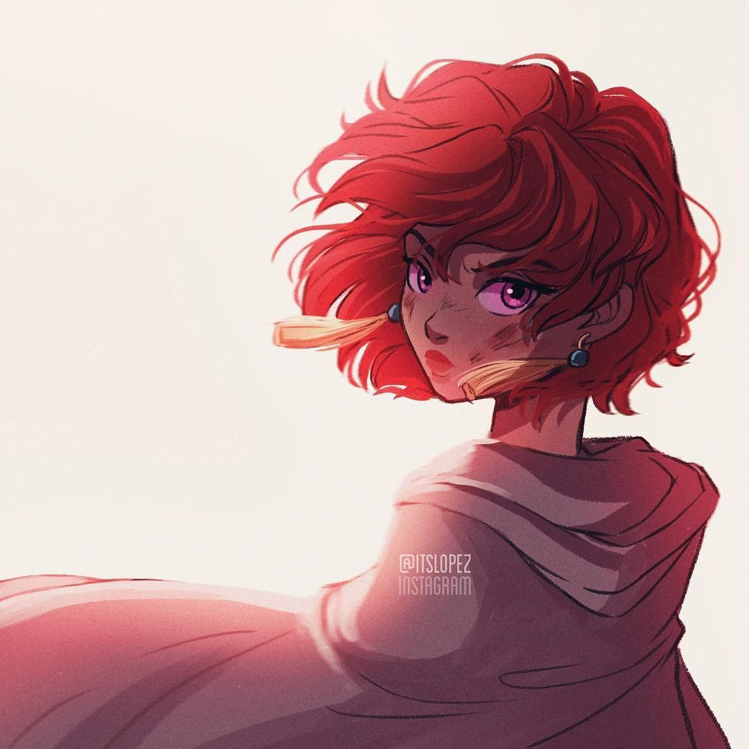 Deep Red Anime Curly Hair Short Hair Drawing Hair Illustration