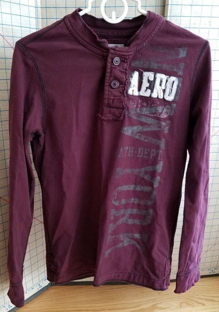 Aeropostale Mens Long Sleeve Henley T-Shirt Buttons Crew Neck