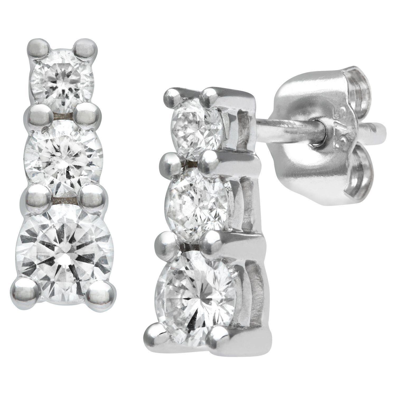 Naava Women s 9 ct White Gold Half Carat Diamond Trilogy Earrings