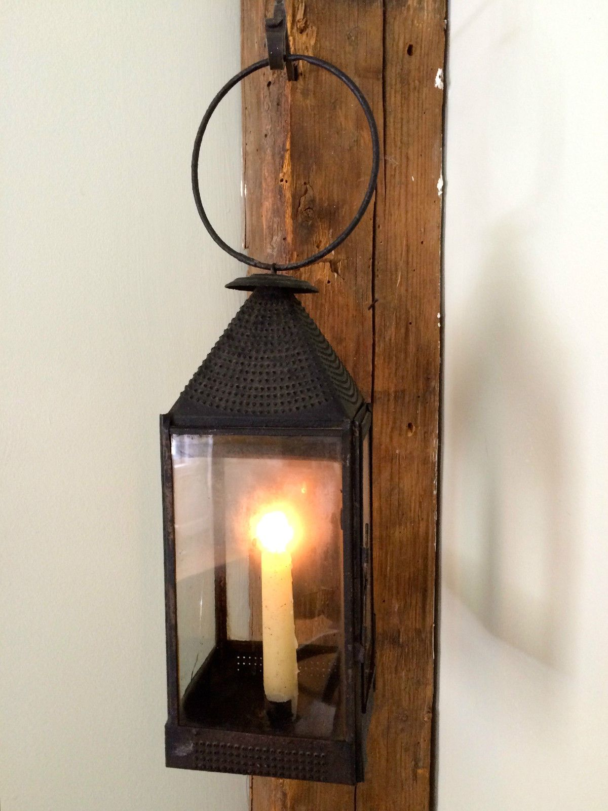 Antique Tinglass & Punch Worked Candle Lantern C 1830 40 Unusual Design In