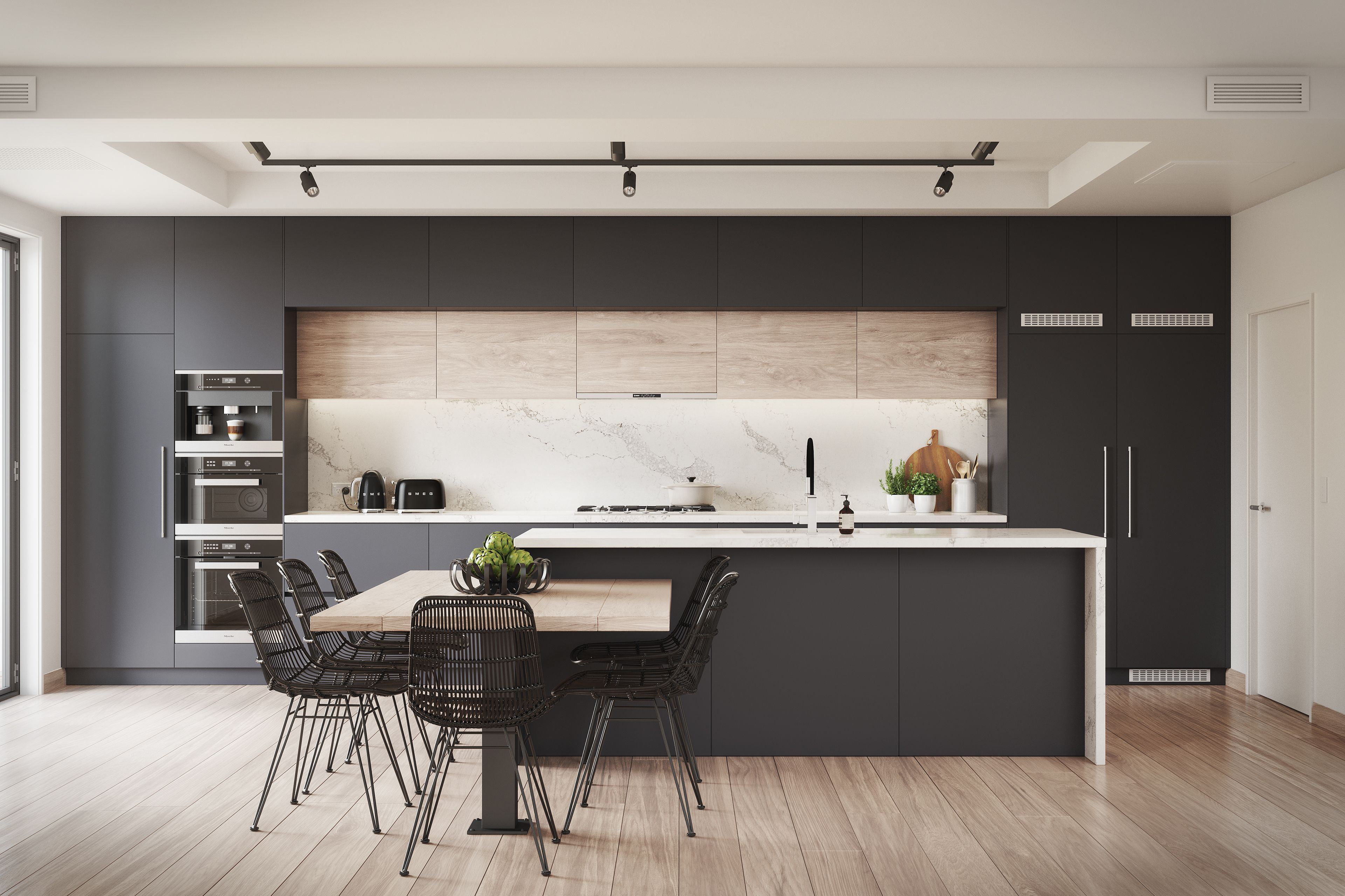 Kitchen Visualisation featuring a Benjamin Moore Black Berry colour