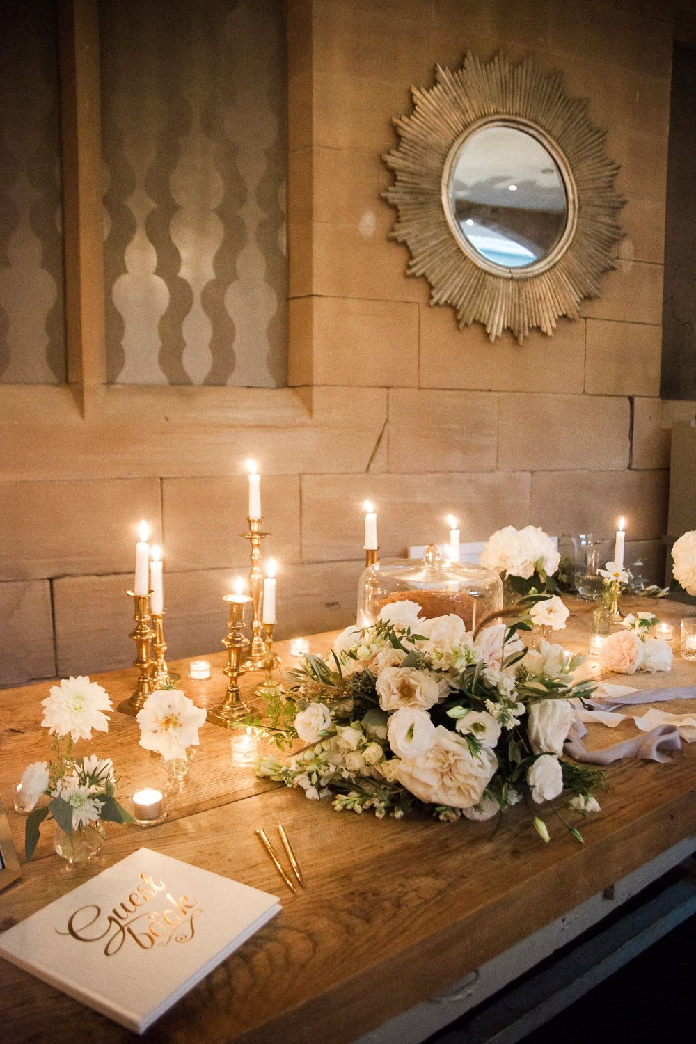 Candle Light Guest Book Table Wedding Guest Book Table Guest Book Table Romantic Wedding Decor