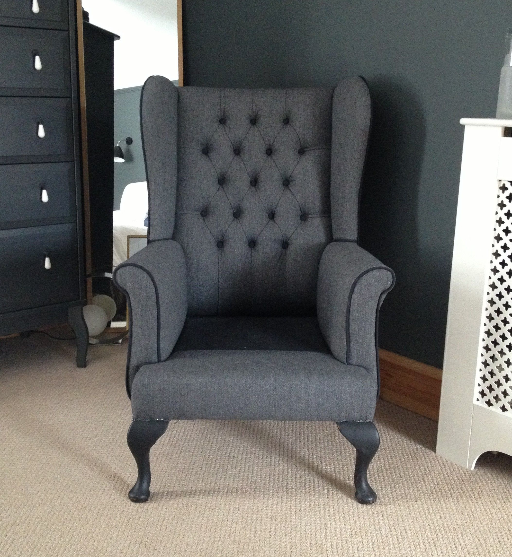 Reupholstered wing back chair Work by Custom Covers Exeter ON
