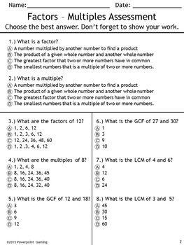 Alive factors and multiples worksheet ideas