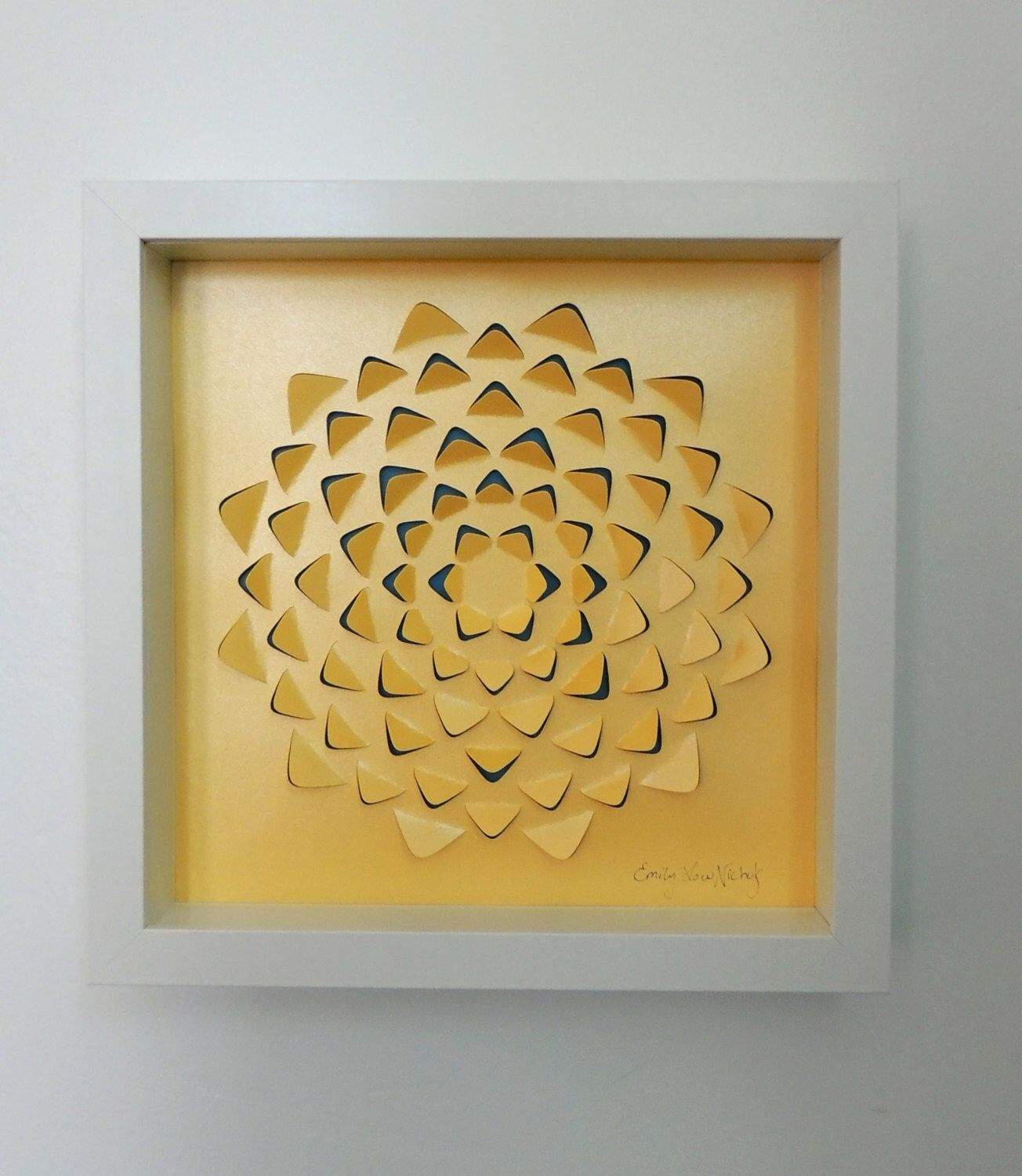 Yellow mandala shadow box by paperpowwow on etsy sy