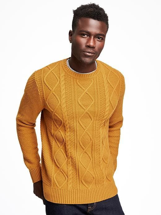 Textured Cable Knit Sweater For Men Rib Knit Crew Neck Long Sleeve Cuffs And Hem Thick Textured Cotton Wool Blend With Men Sweater Sweater Weather Clothes