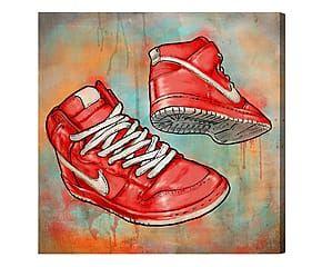 Stampa da parete canvas su legno Cherry kicks - 51x51x4 cm