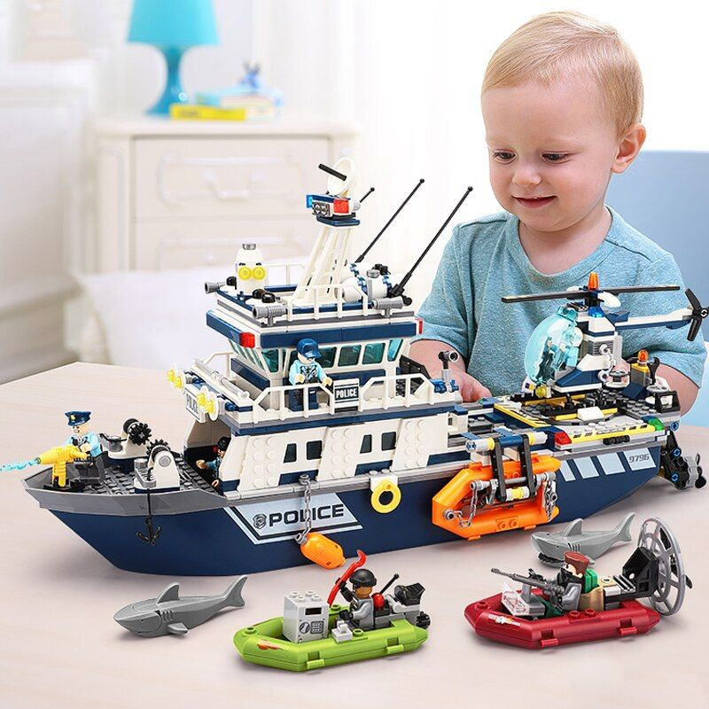 New 869pcs City Police The Patrol Boat Helicopter Model Building Blocks Compatible Legorreta City Children Ship Bricks Toy Gift In 2020 Toys Gift Block Toys Building Blocks