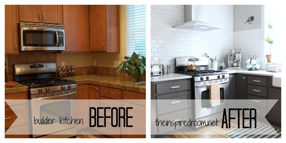 Spray Paint Kitchen Cabinets Before And After  Remodeling Adorable Spray Painting Kitchen Cabinets Decorating Design