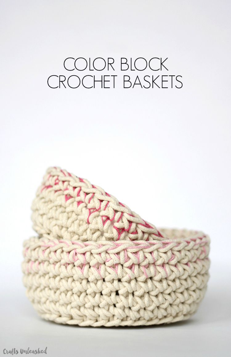 Crochet Basket Pattern with Colorblock Technique | :knit ...