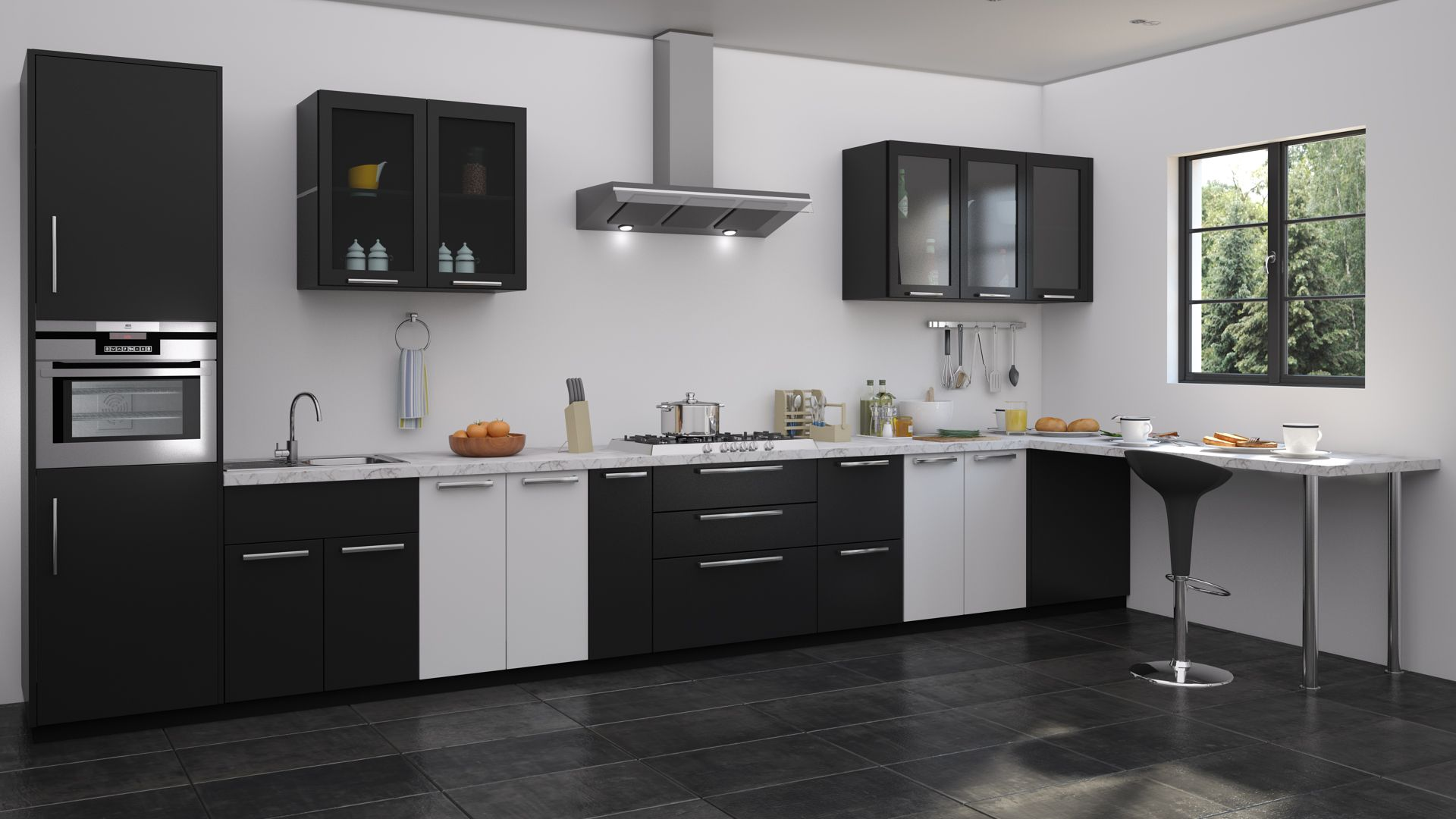 Black And White Kitchen Design Kitchen Design Color Modern Kitchen Storage Modular Kitchen Cabinets