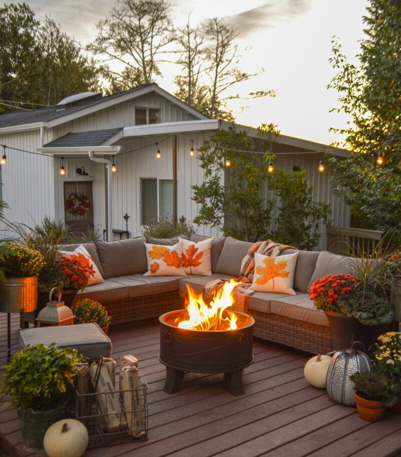 Simple Fall Decorating Ideas With Textiles Fall Patio Outdoor Patio Decor Patio Decor
