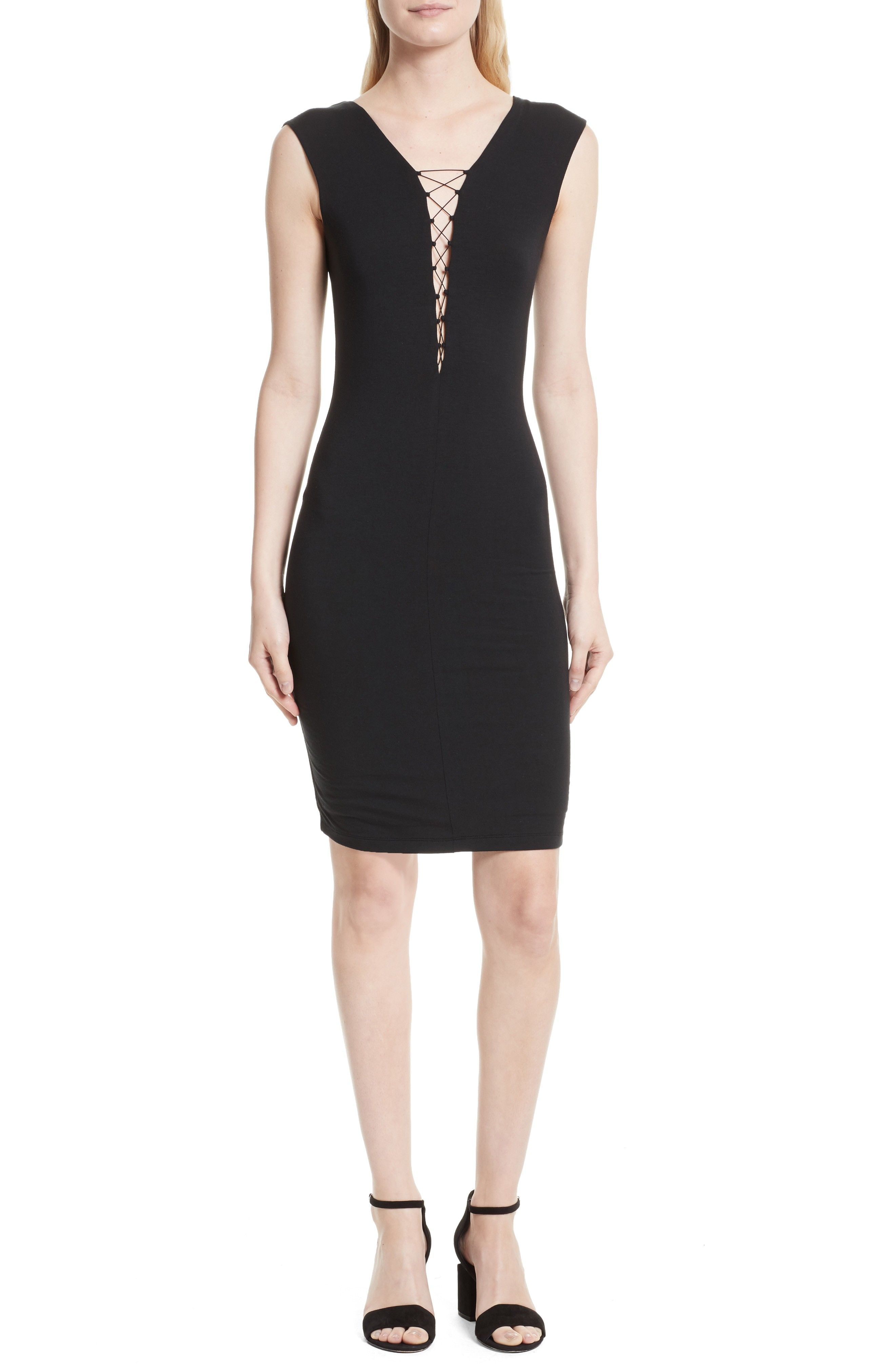 New Alexander Wang Lace-Up Dress, Black Blue Whim Floral fashion ...