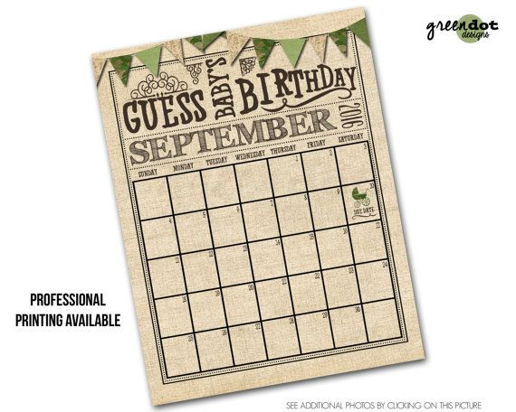 Guess Baby\u0027s Birthday Calendar - guess baby\u0027s due date baby shower