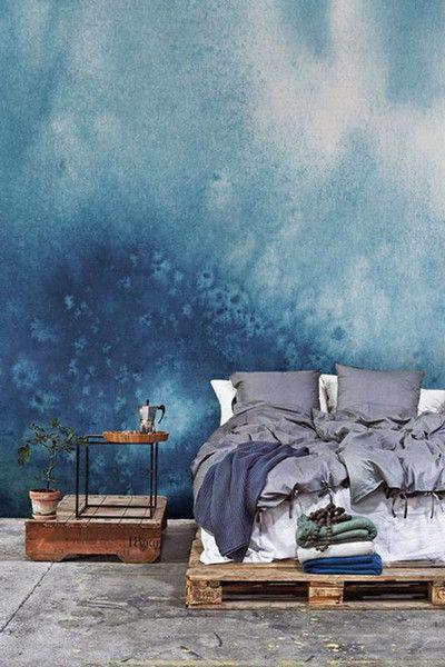 Blue White Grunge Paint Watercolor Mural Watercolor Wallpaper