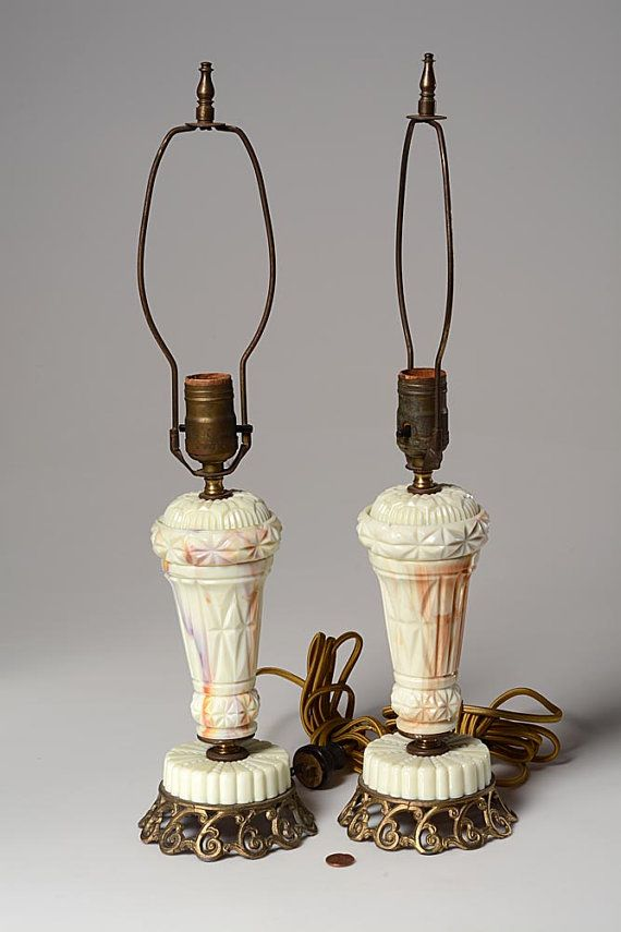 Pair of 1940s akro agate table lamps rewired keyboard keysfo Image collections
