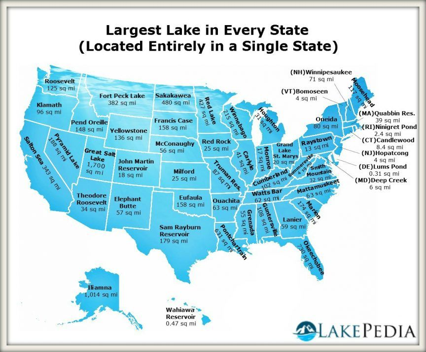 Largest lake in every state | Maps of Us history ...